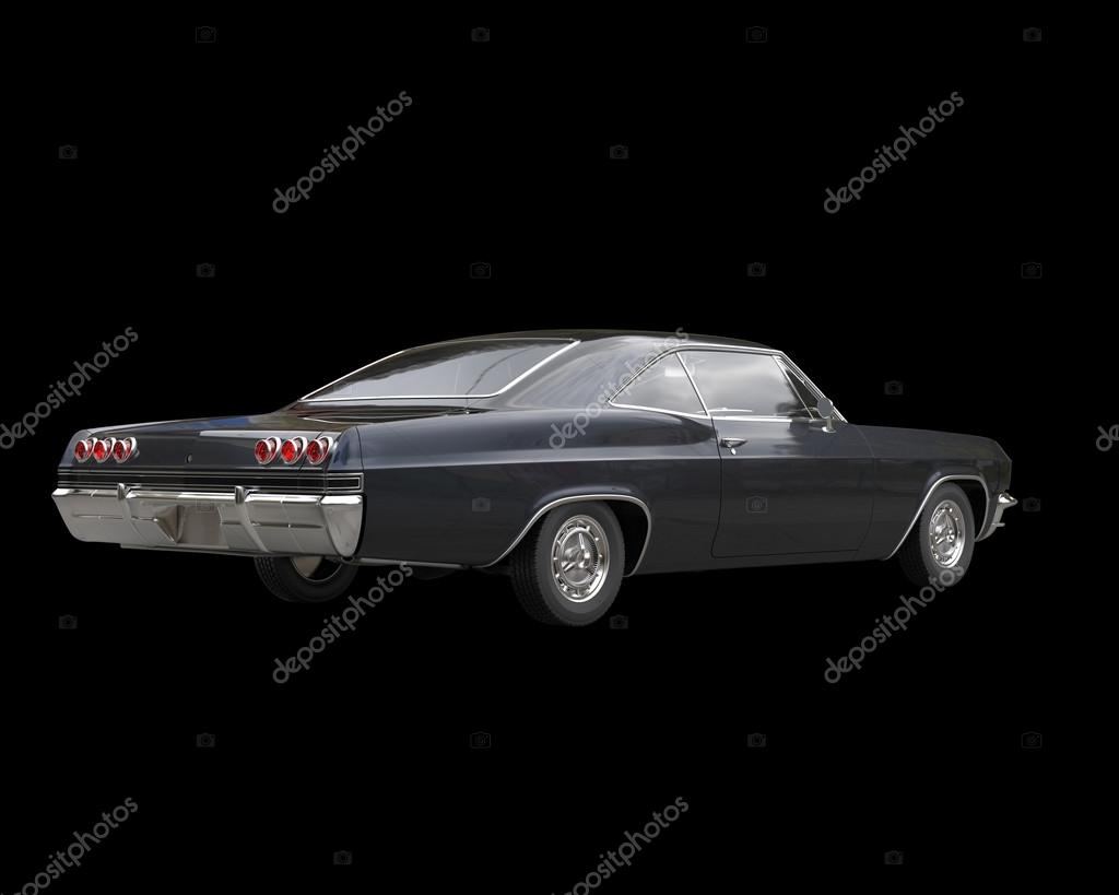 Black classic muscle car on black background - back view – Stock ...