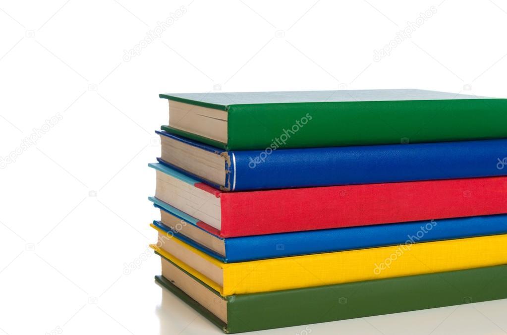 Pila de libros de texto colores primarios — Foto de stock © miflippo ...