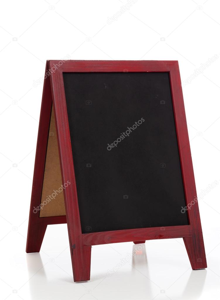 Blank chalkboard or blackboard stand with easel frame — Stock Photo ...