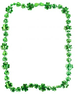 St. Patricks Day beads on a white background