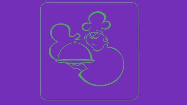 ikona pro kavárnu, rychlé občerstvení z obrysů na ultrafialovém podkladu