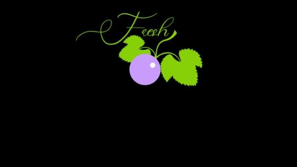 animované logo z čerstvých hroznů vyrobené z písmen a hroznového kartáčku