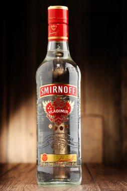 Bottle of Smirnoff Red Label vodka