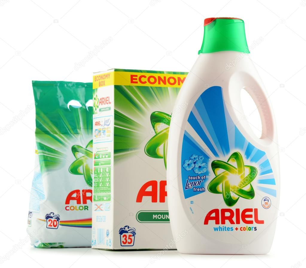 Ariel laundry detergent products isolated on white – Stock Editorial