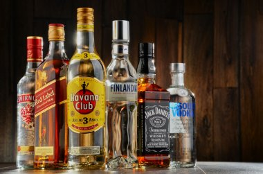 Bottles of assorted hard liquor brands