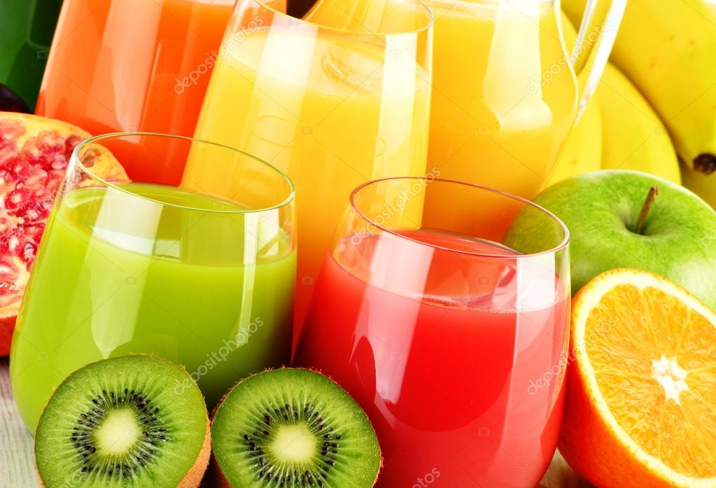 Glasses of assorted fruit juice. Detox diet