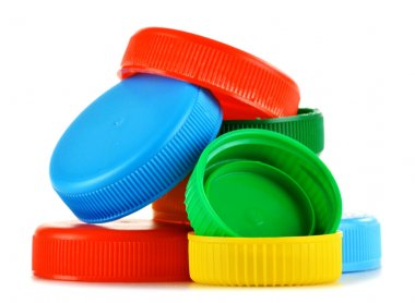 Plastic bottle caps isolated on white