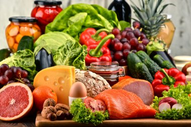 Organic food including vegetables fruit bread dairy and meat