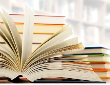 Hardcover books in the library