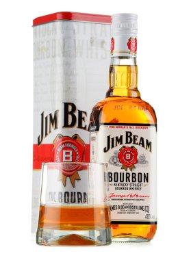 Bottle of Jim Beam bourbon isolated on white
