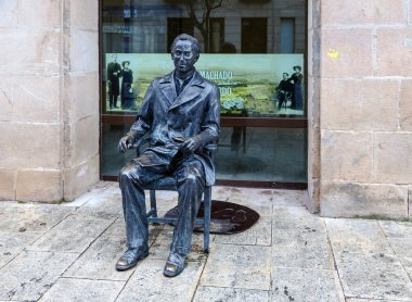 Sculpture of poet Antonio Machado in Soria