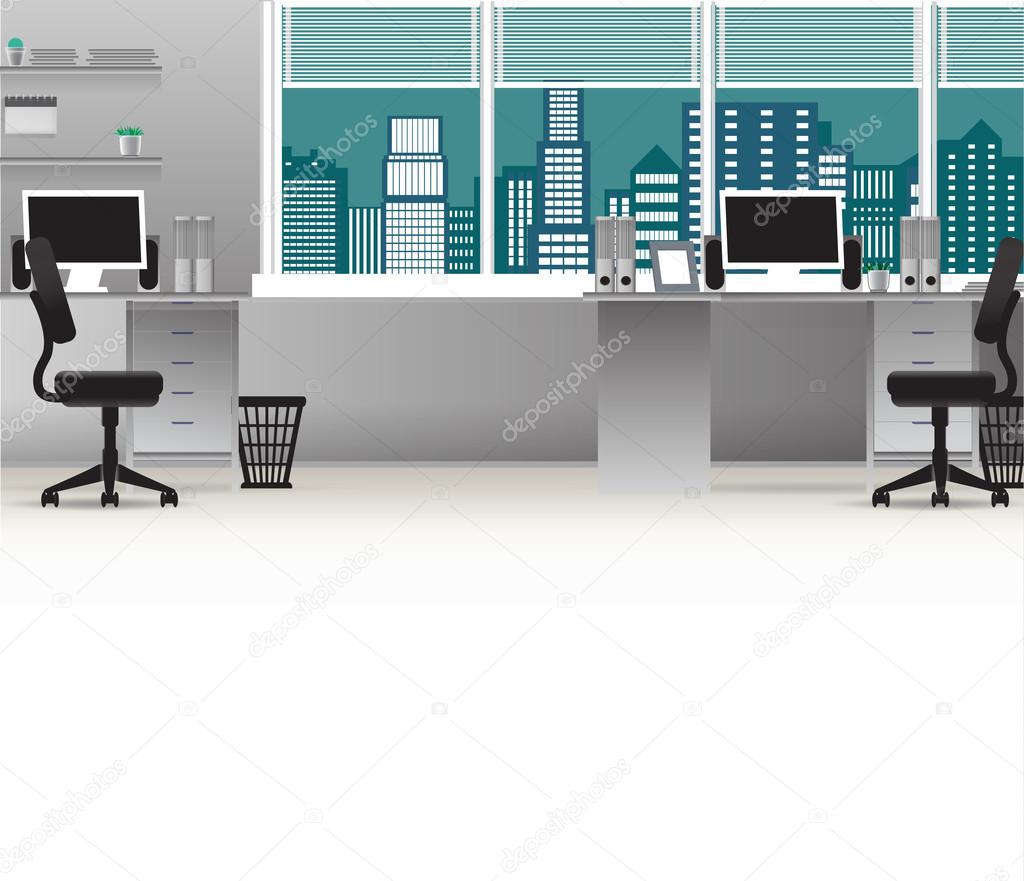 Office Interior Vector Business Background Tables Chairs Computer Desk Desktop Window City Employee Empty On The Tables With Computers Premium Vector In Adobe Illustrator Ai Ai Format Encapsulated Postscript