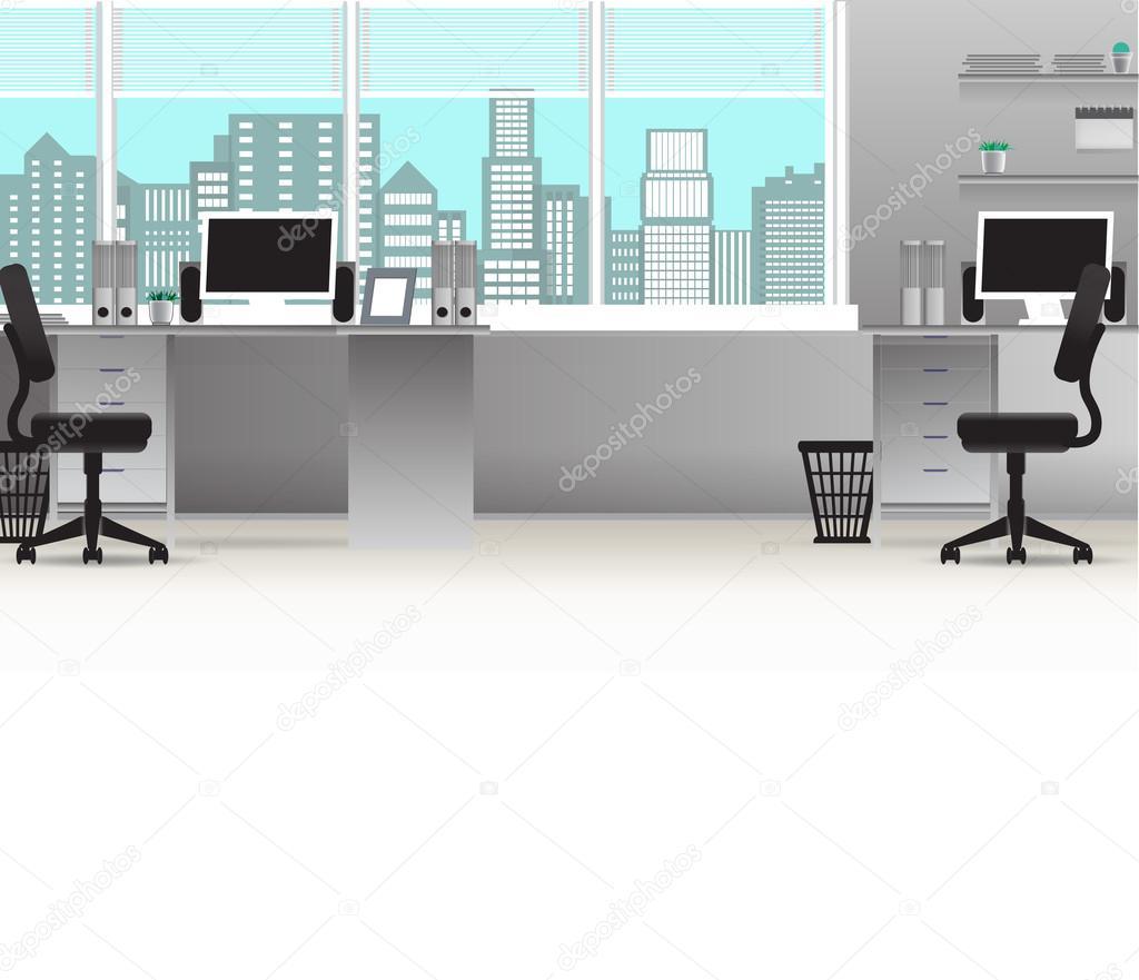 Fondo de negocios de vector interior de oficina mesas for Ordenadores para oficina
