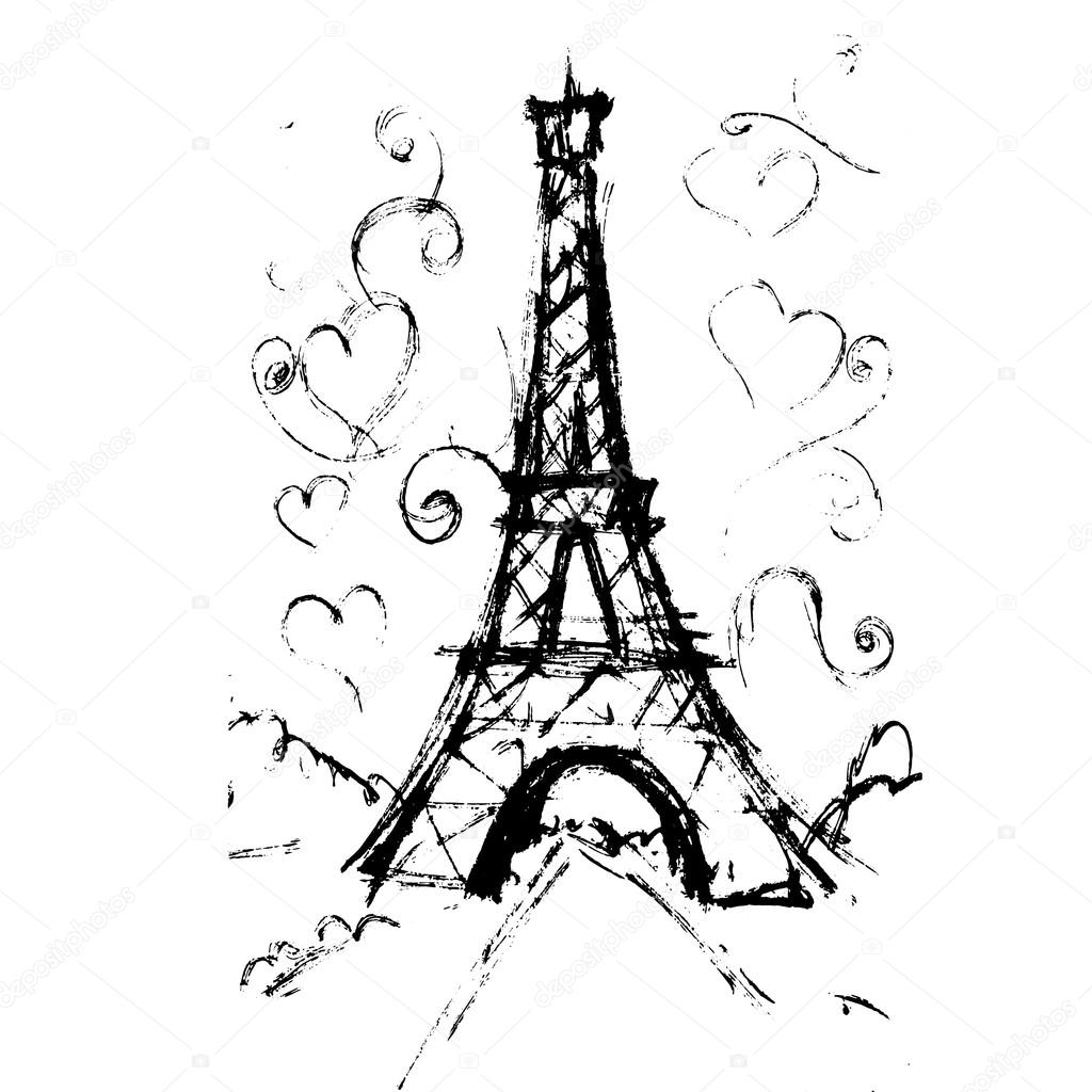 Ben noto tour Eiffel romantic vector illustration heart frame drawing wat  UB66