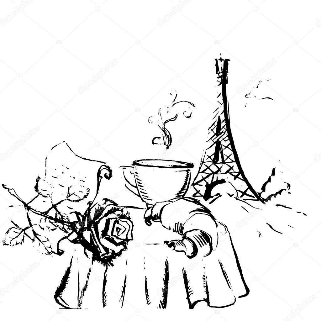 Exceptionnel tour Eiffel romantic vector illustration heart frame drawing wat  BG13