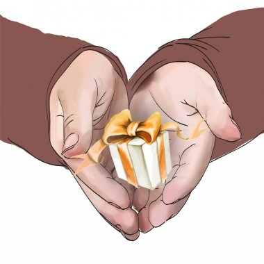 hands hold a gift vector