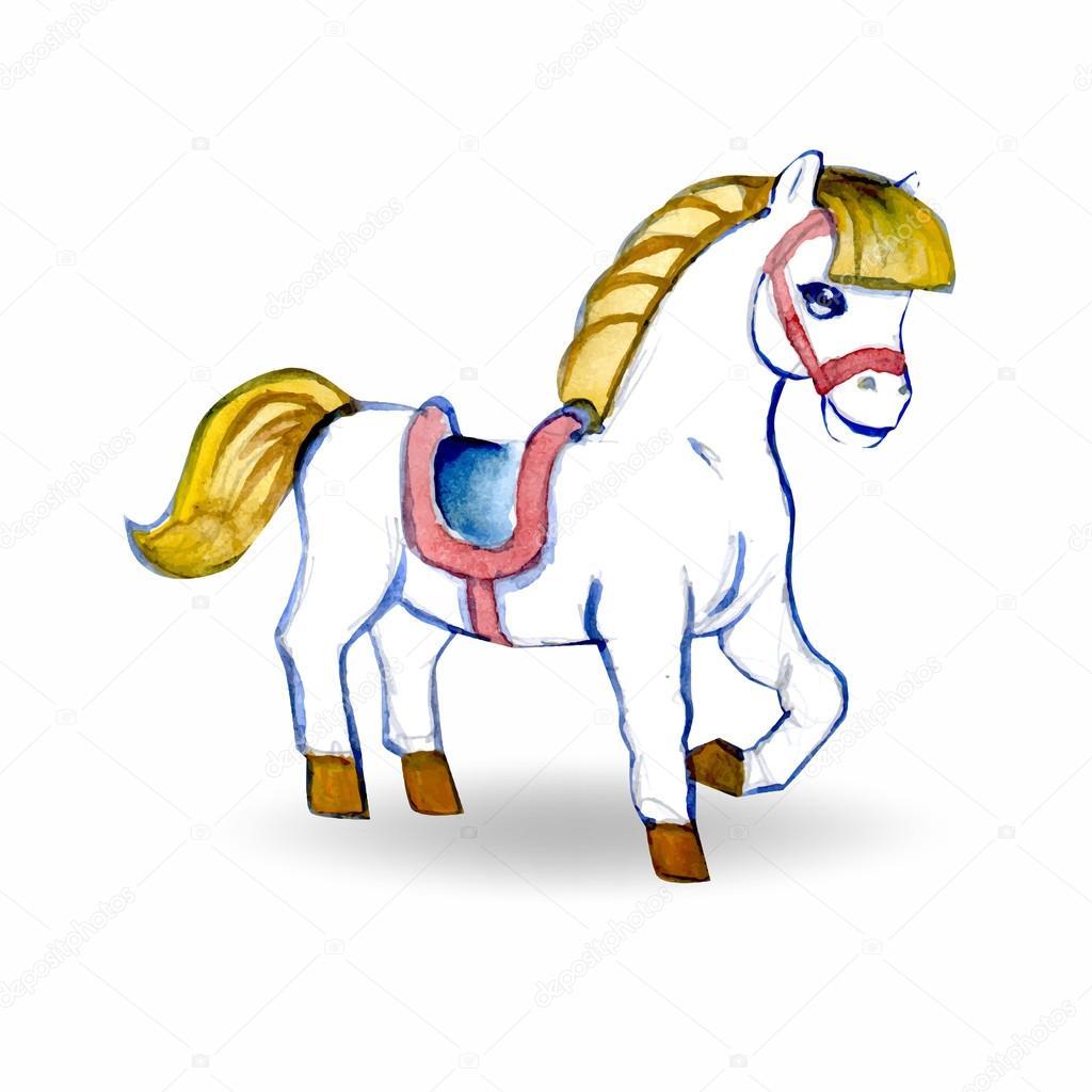 Horse Cartoon Baby Toy Pony Watercolor Icon Symbol Stock Photo C Tanshy 76787729