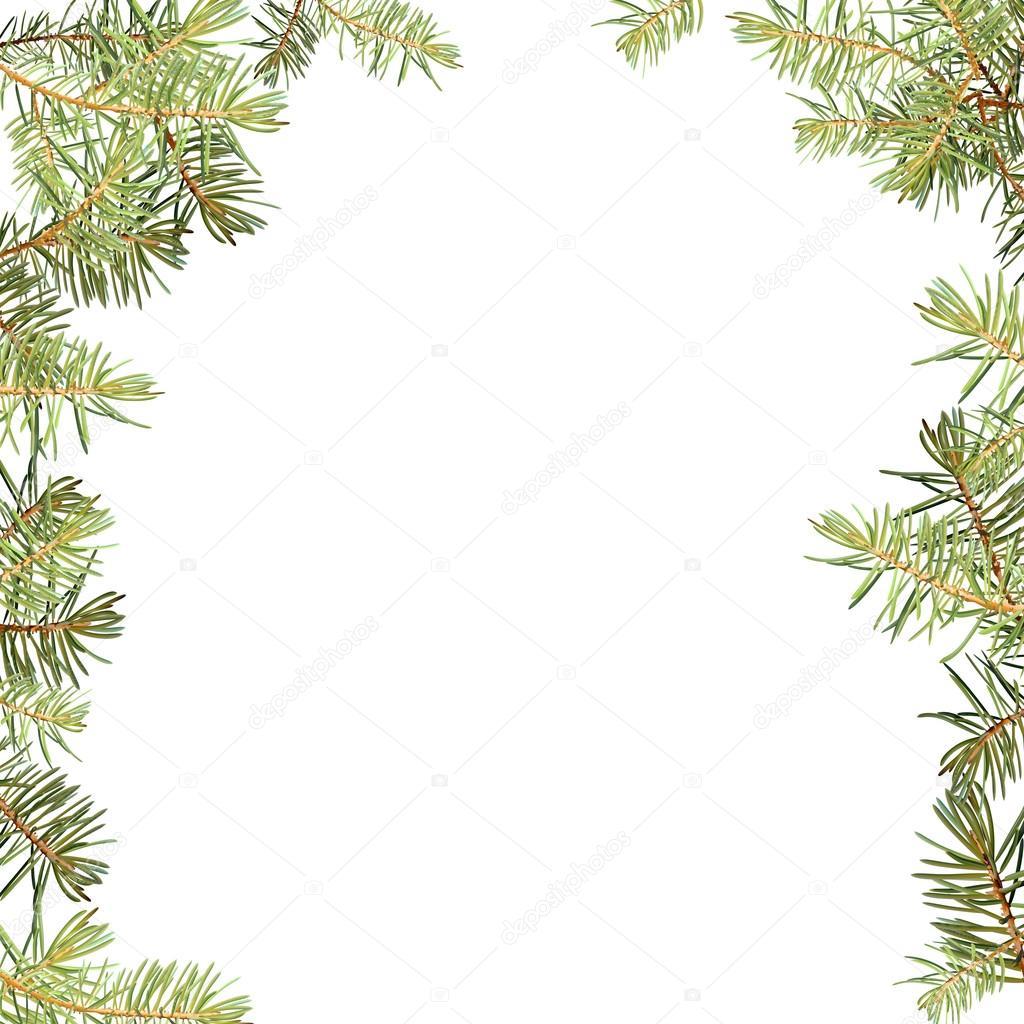 Realistische Nadeln, Zweige der Fichte Weihnachtsbaum, detaillierte ...