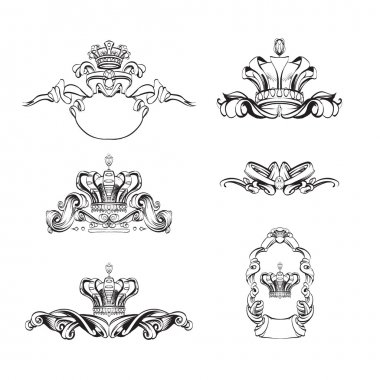 crown vector, decorative elements in vintage style for decoration layout, framing, for text for advertising, vector illustration, sketch, drawing hands, pen and ink