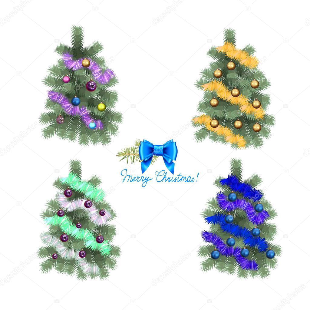 Weihnachtsbaum mit funkelnden, glänzenden Spielzeug farbigen Kugeln ...