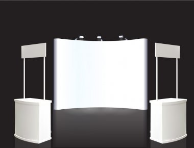 Trade exhibition stand, Exhibition Stand round, 3D rendering visualization of exhibition equipment, a set of stands, Advertising space on a white background, with space for text ads vector stock vector