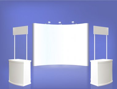 Trade exhibition stand, Exhibition Stand round, 3D rendering vis