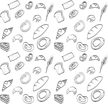 vector seamless texture, food, bread loaf brioche croissant, cak