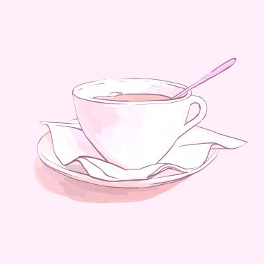 tea cup, saucer and spoon napkin vector isolated