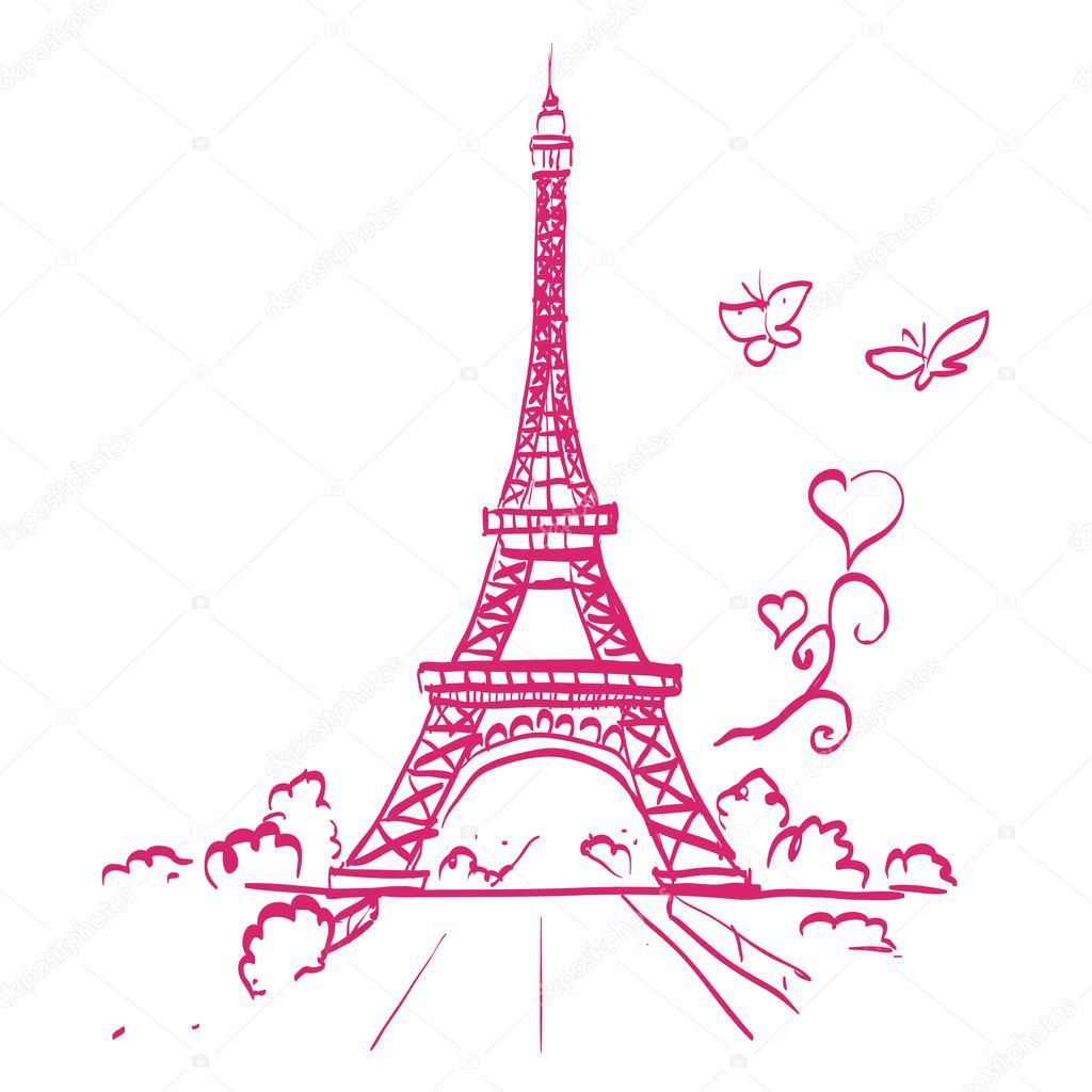 Super Tour Eiffel romantico illustrazione cuore per grafici — Vettoriali  LT47