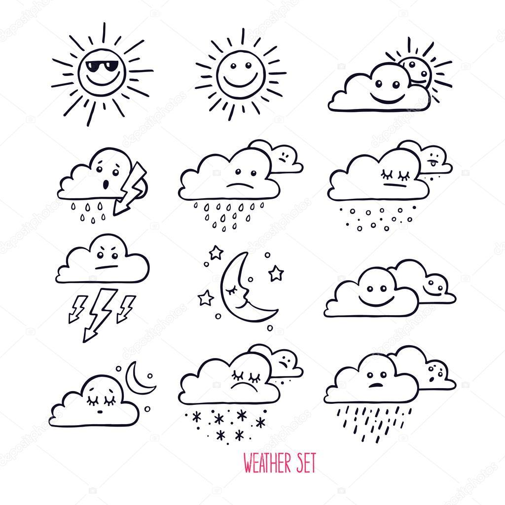 Cute Weather Icons Stock Vector C Grey Ant 110500888