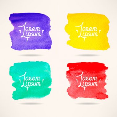 Set of four colorful watercolor square backgrounds stock vector