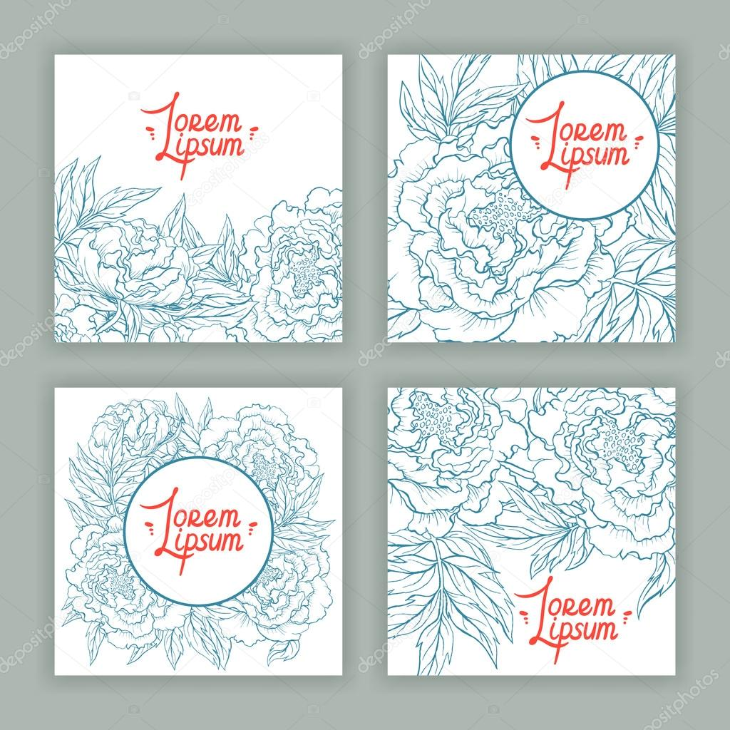 four square cards with beautiful peonies
