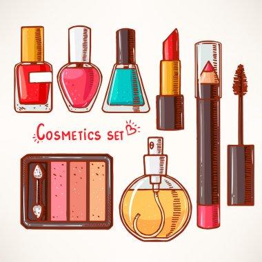 set with decorative cosmetics