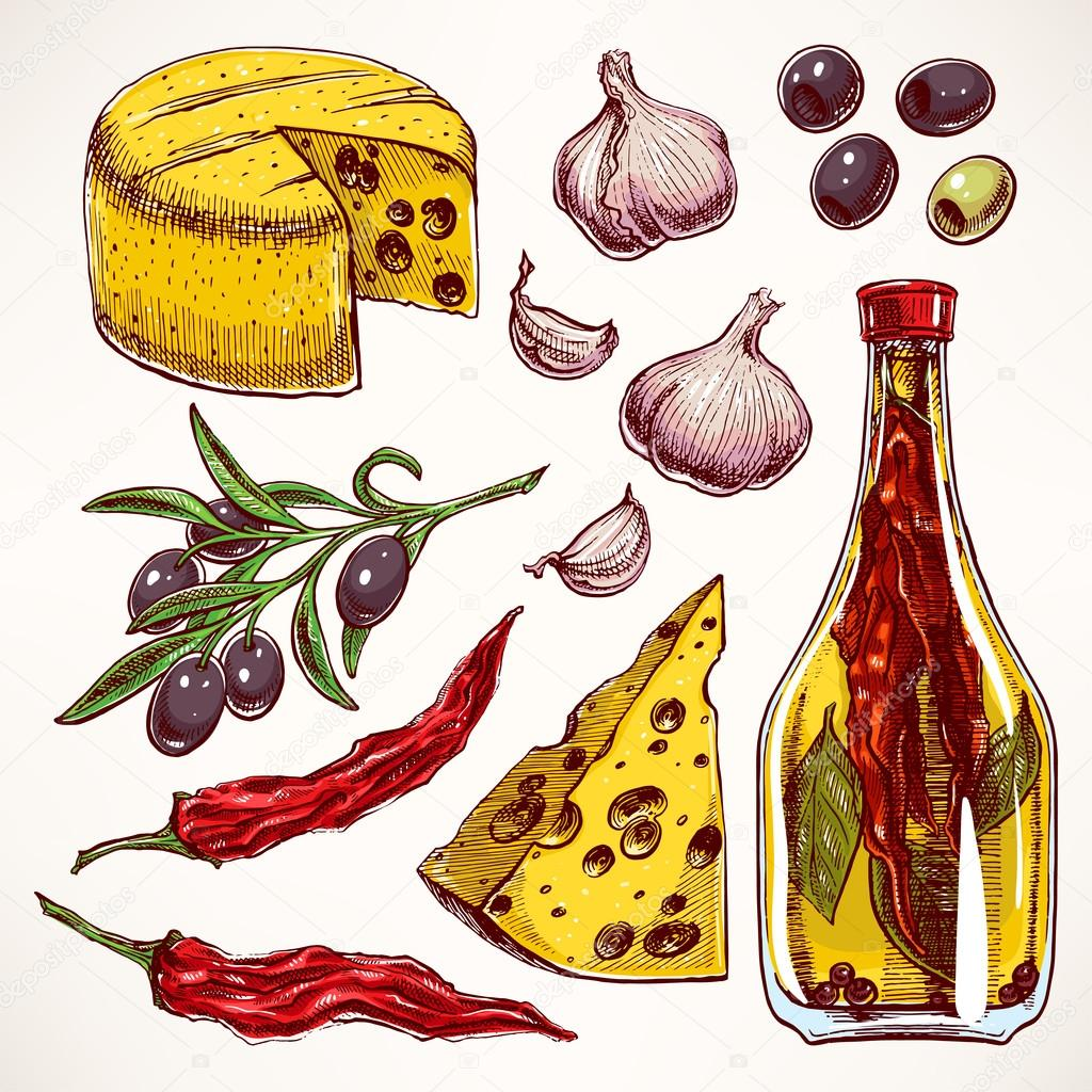colorful spices, cheeses and vegetables