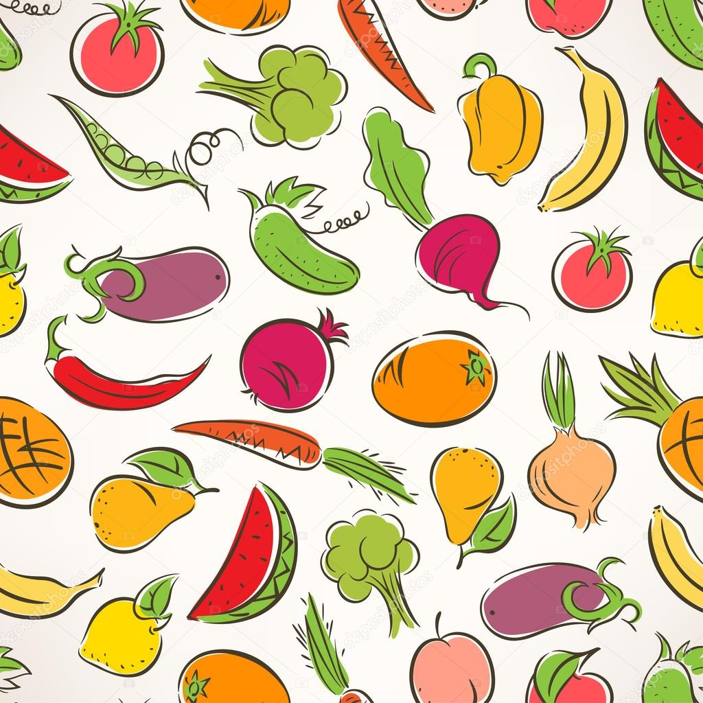 colored stylized fruit and vegetables