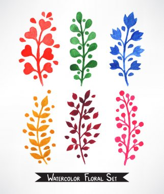 Set of watercolor plants