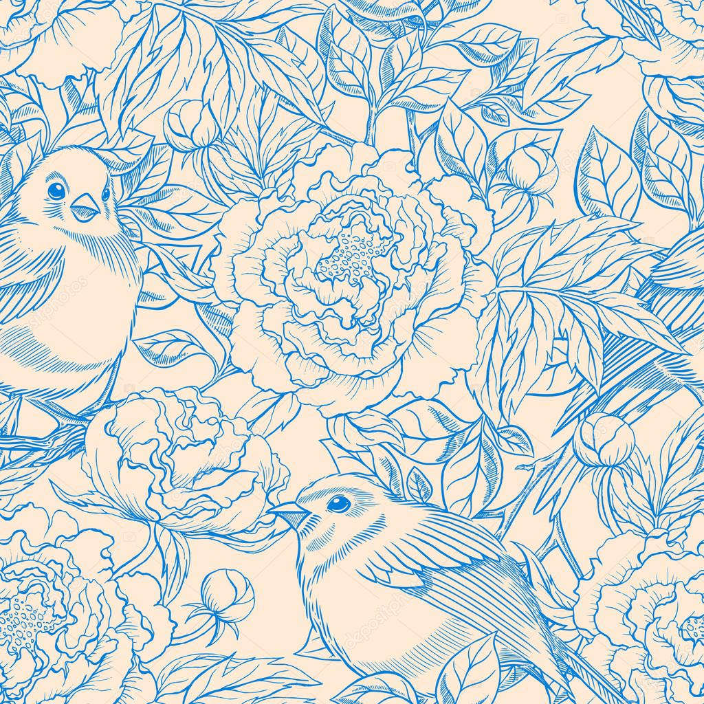 blue and beige birds and peonies