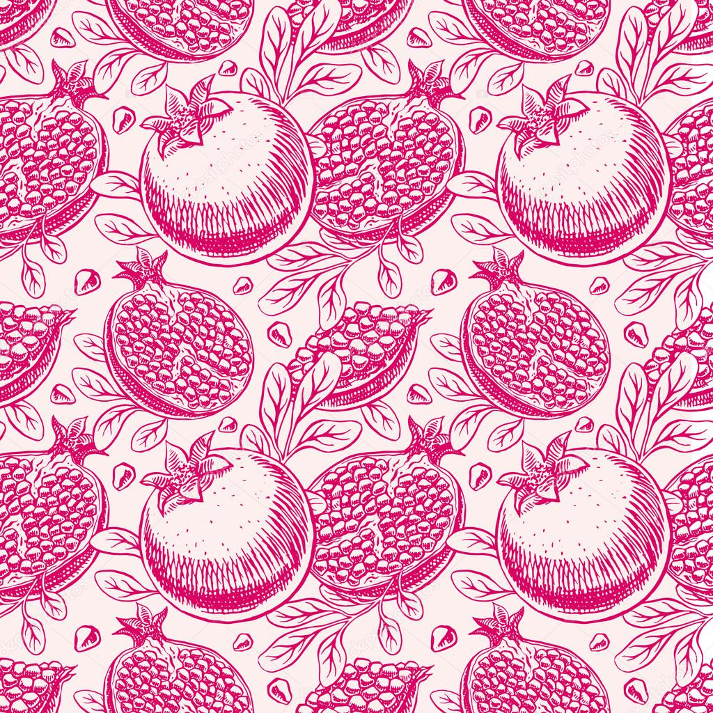 seamless ripe sketch pomegranate