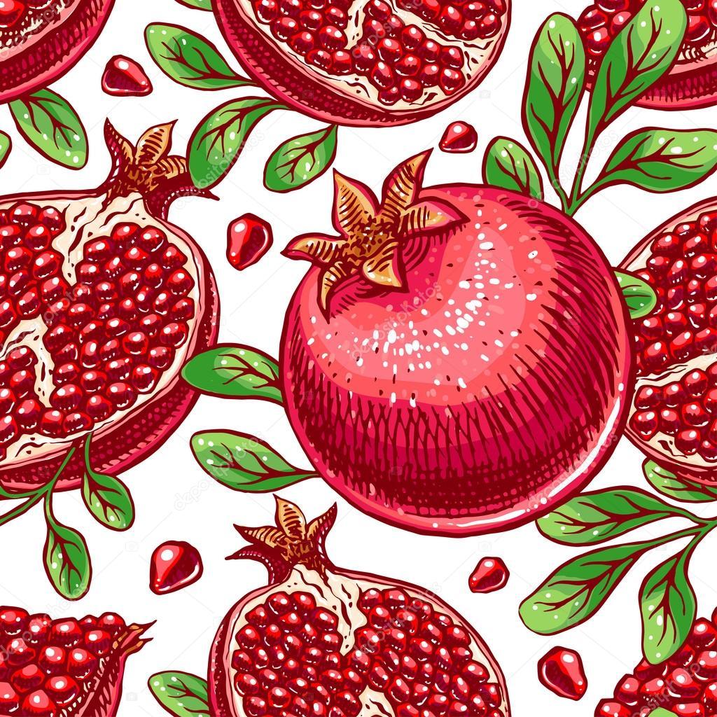 seamless ripe hand-drawn pomegranate