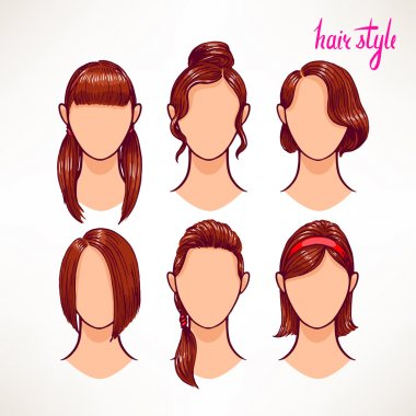 brunette. different hairstyles - 2