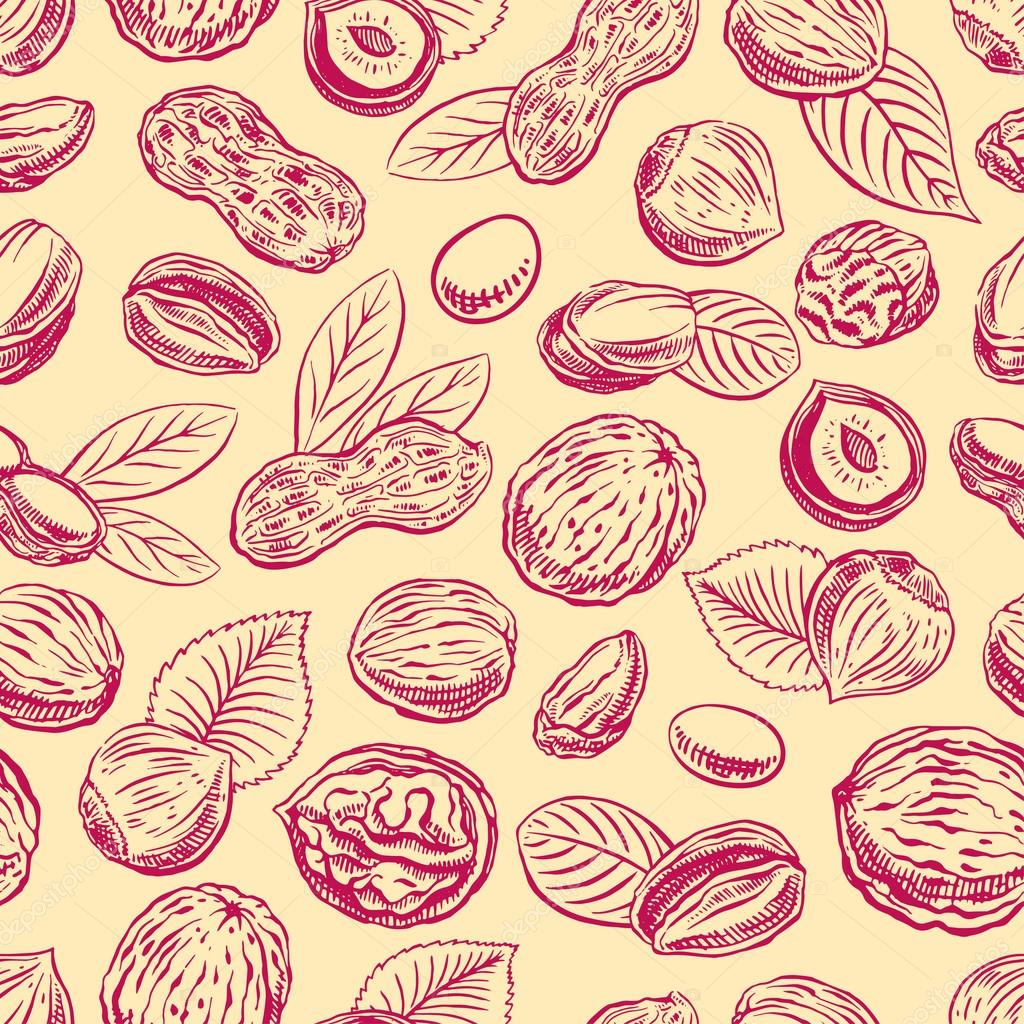 seamless background with nuts
