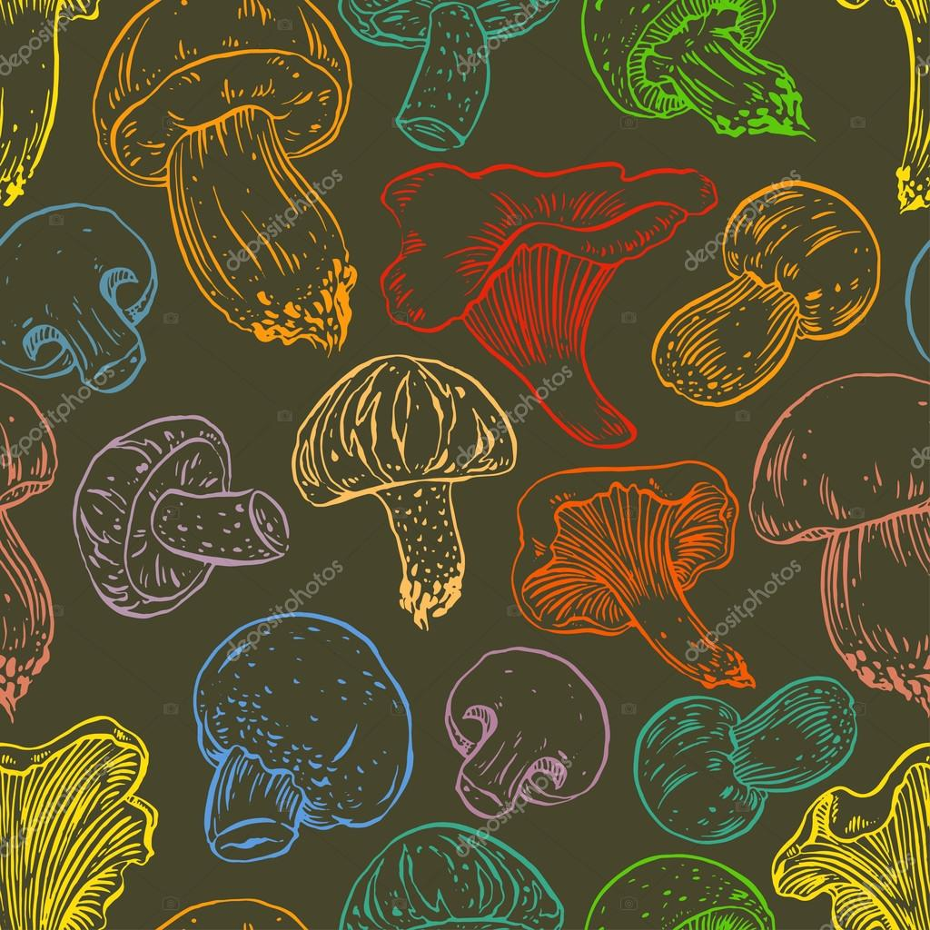 seamless colorful mushrooms