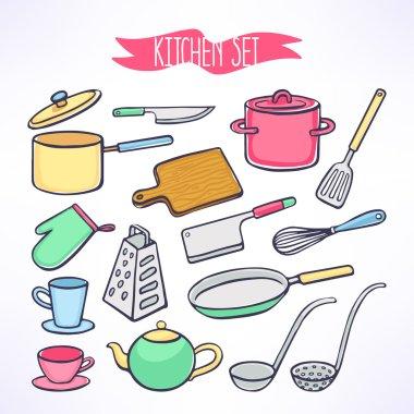 set with kitchen utensils