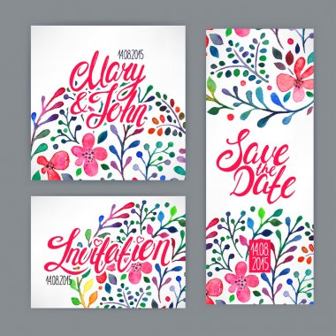 Beautiful card with watercolor floral pattern. hand-drawn illustration clip art vector