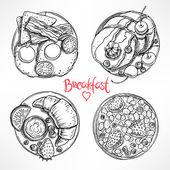 Fotografie set with four sketch breakfast
