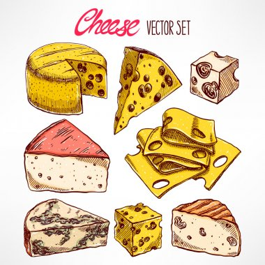Set with hand-drawn cheeses