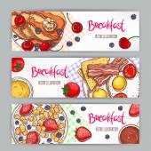 three banners with sketch breakfasts