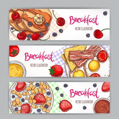 Set with three banners of different types of breakfast. hand-drawn illustration stock vector