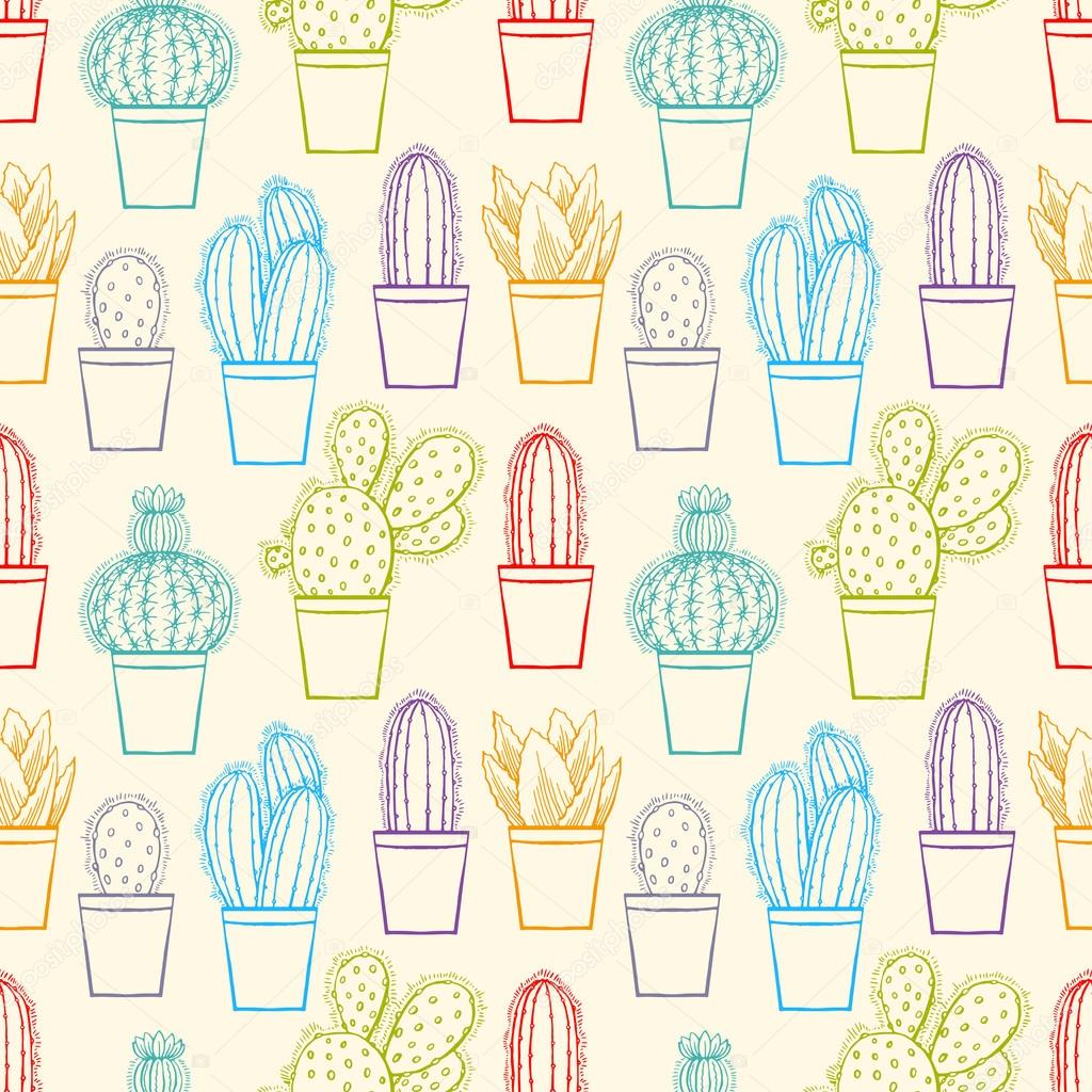seamless cute sketch cactuses
