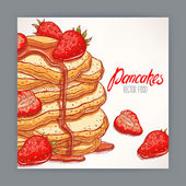 card of pancakes with strawberry